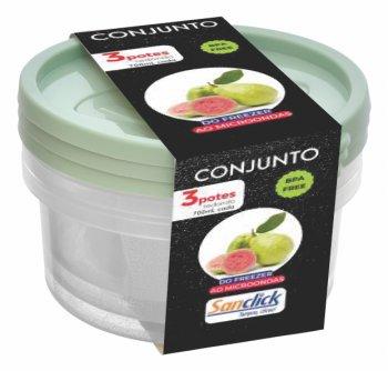 Conjunto c/ 3 Potes Redondos Graduados 700 ml