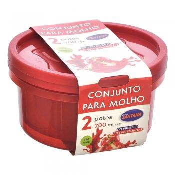 Conjunto c/ 2 Potes p/ Molho 700 ml ( Vermelho )