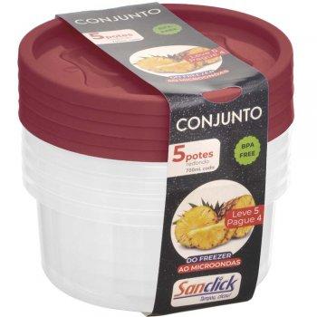 Conjunto Leve 5 Pague 4 Potes Redondos Graduados 700 ml