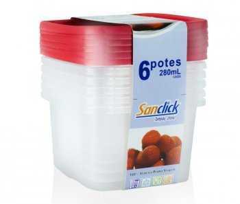 Conjunto Leve 6 Pague 5 Potes Quadrados Graduados 280 ml