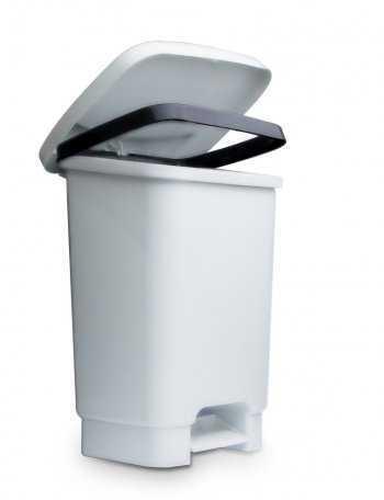 Lixeira 35 l c/ Pedal e Fixador p/ Saco de Lixo - Branca